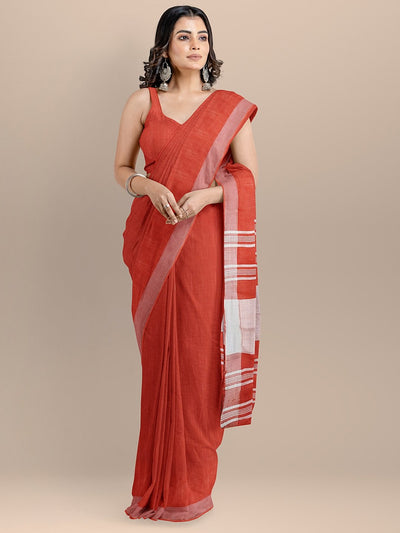 Red Color Pure Cotton Solid Mangalagiri Handloom Saree