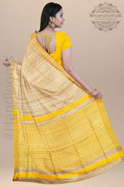 Beige Yellow Pink Pure Tussar Silk Saree