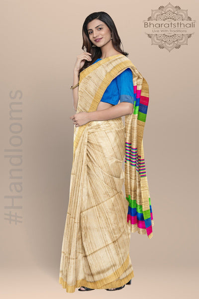 Beige Blue Green Pink Pure Tussar Silk Saree