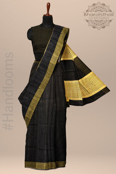 Black With Golden Jute Pallu Pure Raw Silk