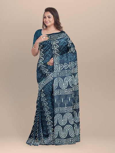 Indigo Blue Color Pure Cotton Handloom Print Saree