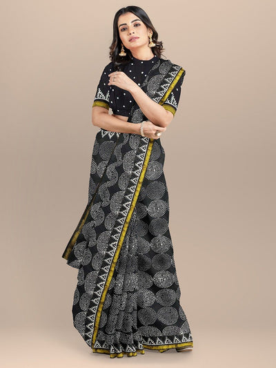 Black Color Pure Cotton Handloom Print Saree with golden Zari Border