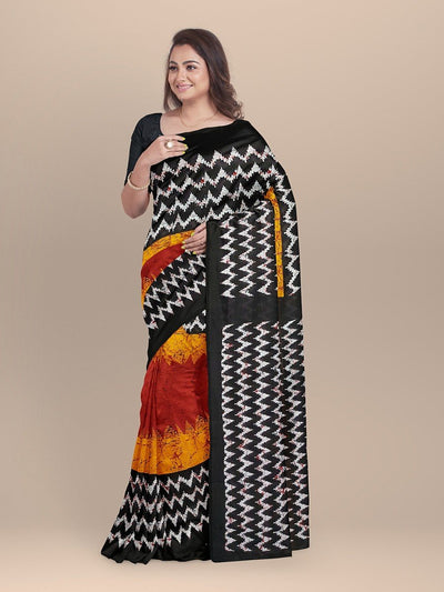 Multi Color Pure Cotton Handloom Print Saree