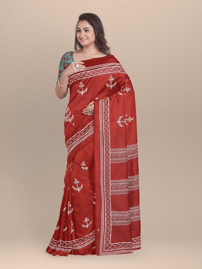 Red Color Pure Cotton Handloom Print Saree