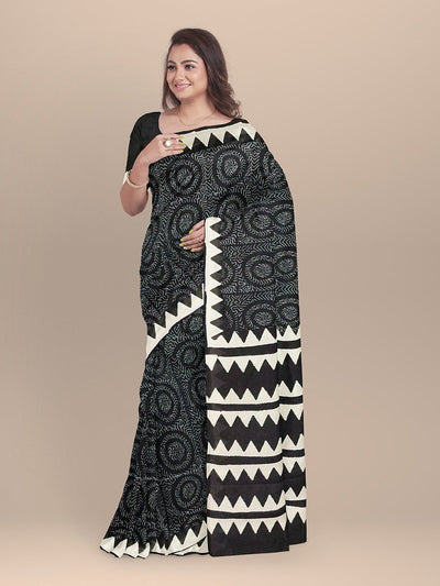 Black Color Pure Cotton Handloom Print Saree