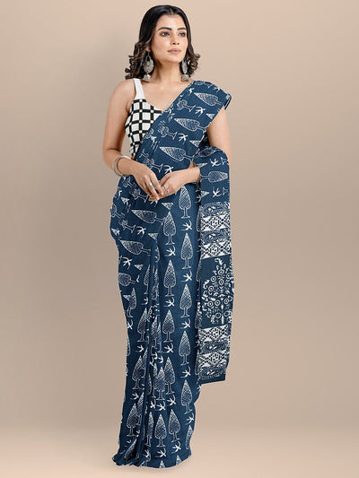 Blue Color Pure Cotton Printed Handloom Saree