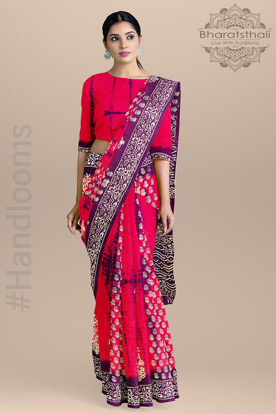 Purple and Pink Ajrakh Handloom Pure Cotton Print Saree