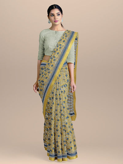 Flaxen Yellow Color Pure Cotton Handloom Print Saree