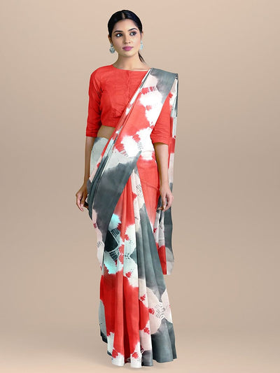 Grey with White and Red Pure Cotton Printed Saree