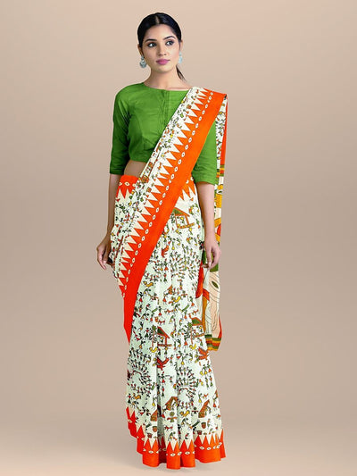 White With Orange Color Madhubani Print Handloom Saree