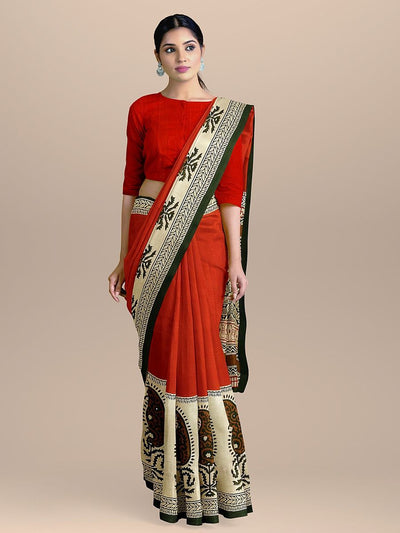 Red Color with Broad Printed Border Pure Cotton Handloom Saree