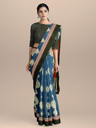Blue Color Pure Cotton Handloom Print Saree