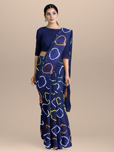 Navy Blue Saree with all over Colorful Print