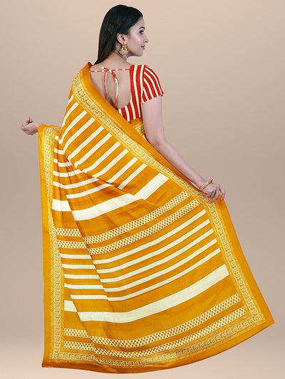 Mustard Yellow Color Handloom Pure Cotton Print Saree