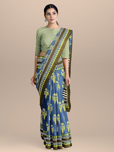 Royal Blue Color with Green Handloom Pure Cotton Print Saree