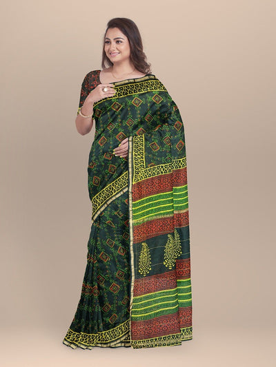 Forest Green Color Chanderi Printed Saree