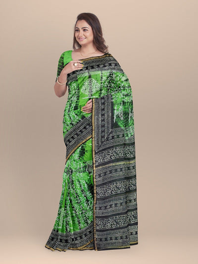 Green Color Chanderi Printed Saree