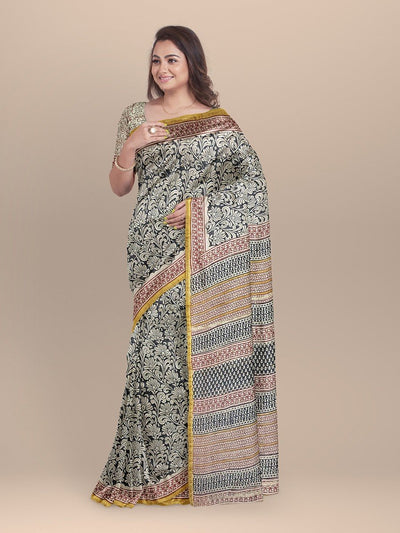 Beige Color Chanderi Printed Saree
