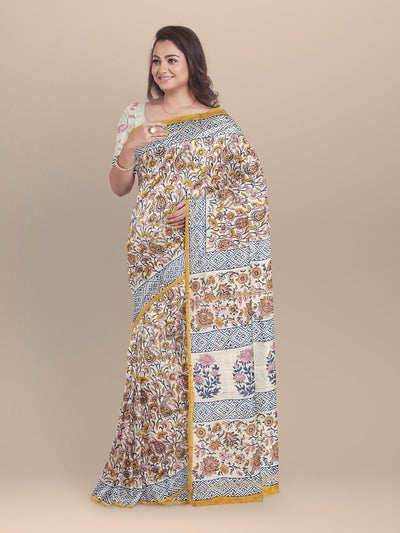 White Color Sanganeri Chanderi Printed Saree