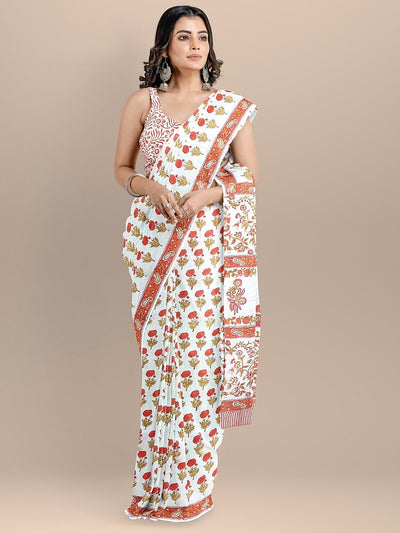 White Color Pure Cotton Floral Print Handloom Saree
