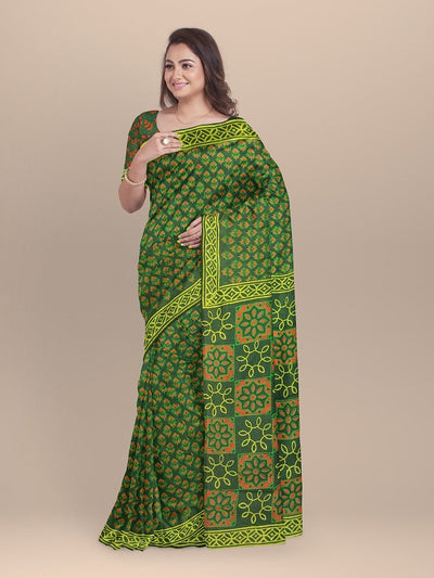 Green Color  Pure Cotton Handloom Print Saree