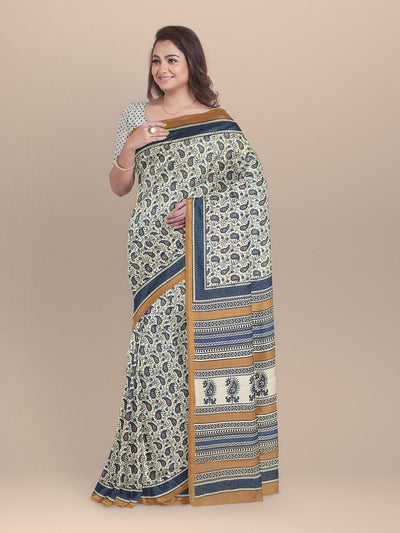 Beige Color Pure Cotton Handloom Print Saree