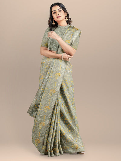 Beige  Color Pure Cotton Handloom Printed Saree