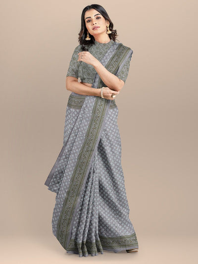 Grey and Green Color Pure Cotton Handloom Printed Saree