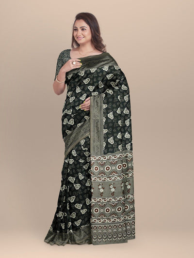 Black Color Pure Cotton Handloom Printed Saree
