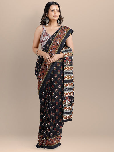 Black Color Pure Cotton Printed Handloom Saree