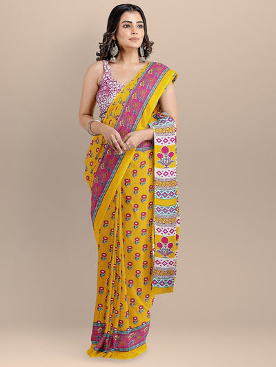 Yellow Color Pure Cotton Printed Handloom Saree