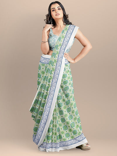 Green Color Pure Cotton Printed Handloom Saree