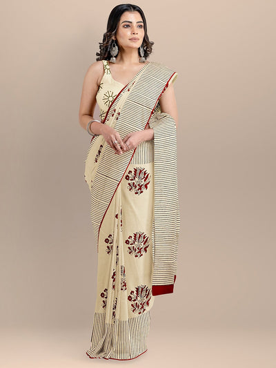 Cream Color Pure Cotton Printed Hadloom Saree