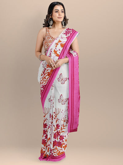 White Color Pure Cotton Printed Handloom Saree
