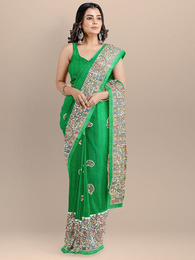 Green Color Silk Cotton Kalamkari Print Tussar Saree