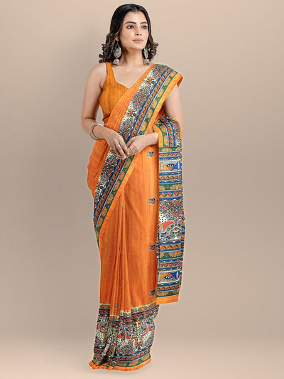 Orange Color Silk Cotton Kalamkari Print Tussar Saree