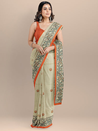 Beige Color Silk Cotton Kalamkari Print Tussar Saree