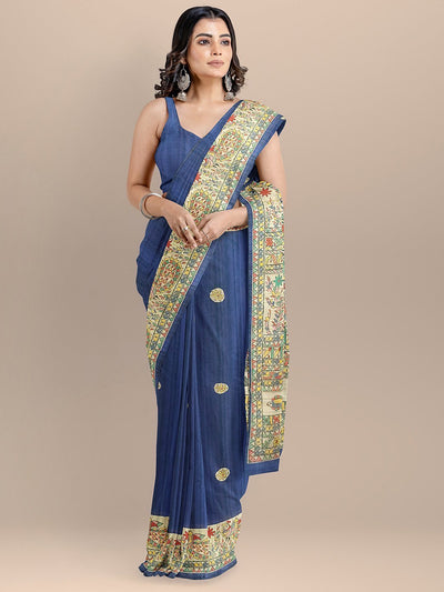 Blue Color Silk Cotton Kalamkari Print Tussar Saree