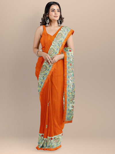 Orange Color Silk Cotton Woven Design Kalamkari Print Tussar Saree