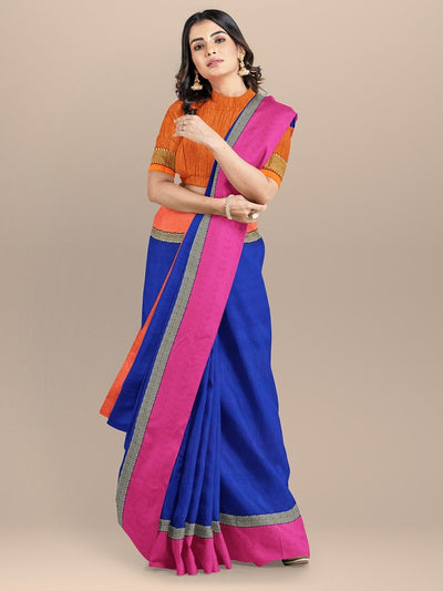Blue Color Maheshwari Cotton Silk Saree