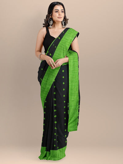 Black Color Pure Cotton Woven Design Taant Saree