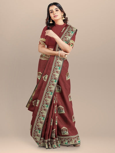 Maroon Color Baluchari Bengali Silk Saree with Figure Booties