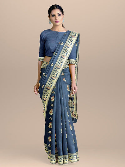 Navy Blue Color Baluchari Bengali Silk Saree with Figure Booties