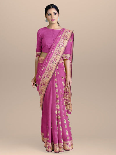 Purple Color Baluchari Bengali Silk Saree with Figure Booties