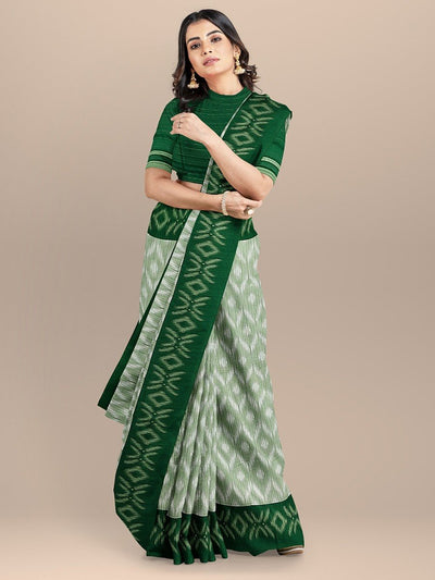 White Color Cotton Silk Sambalpuri saree with Green Border