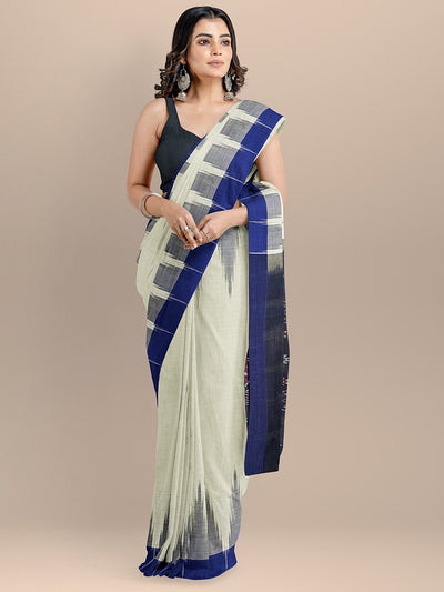 Off White Color Pure Cotton Solid Sambhalpuri Handloom Saree