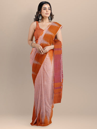 Orange Color Pure Cotton Solid Sambhalpuri Handloom Saree