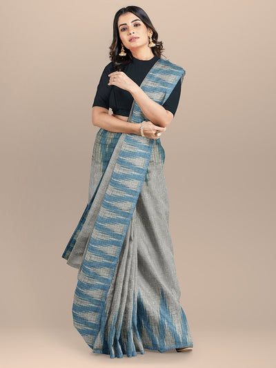 Grey and Blue Color Pure Cotton Solid Sambhalpuri Handloom Saree
