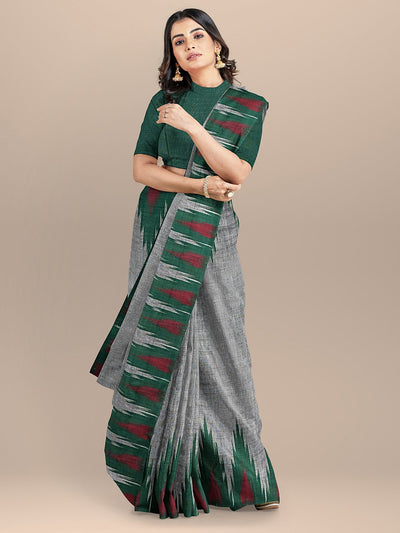 Grey Color Pure Cotton Solid Sambhalpuri Handloom Saree