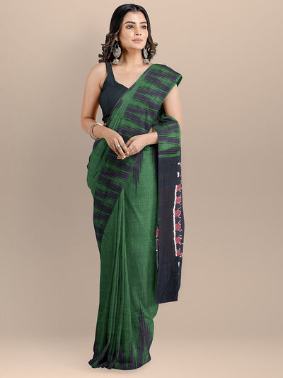 Green and Black Color Pure Cotton Solid Sambhalpuri Handloom Saree